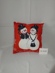 Red Snowman Pillow from Lloyd's Florist, local florist in Louisville,KY